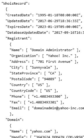 Example of Whois output in JSON